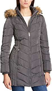 Women's Quilted Chevron Faux Fur Trim Hooded Puffer Coat