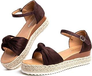 Sandale Plateforme Femme d'Ete Espadrille Sandales Compensées Mode Bout Ouvert Faux Cuir avec Sangle Cheville 5 CM Noir Ma...