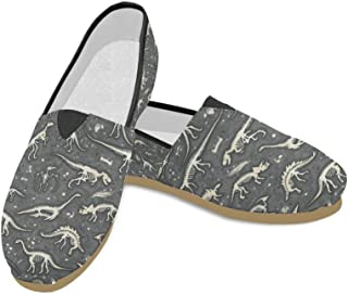 INTERESTPRINT Silhouettes, Dino Skeletons, Dinosaurs, Fossils Loafers Casual Shoes for Women
