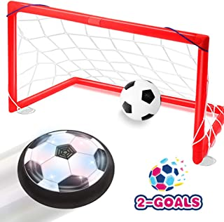 Toyk Kids Toys - LED Hover Soccer Ball Set 2 Goals Mini Screwdriver - Air Power Training Ball Playing Football Game - Soccer Toys 3 4 5 6 7 8-16 Years Old Boys Girls Best Gift
