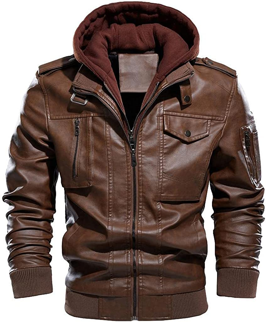 WUAI-Men Casual Stand Collar PU Faux Leather Zip-Up Military Cargo Motorcycle Bomber Hoodies Jacket Winter Warm Coat