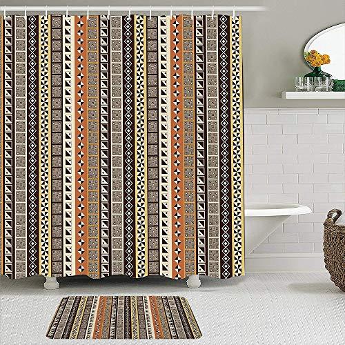 Juego de cortinas de ducha de 2 piezas con alfombra de baño antideslizante,Motivos africanos geométricos Rombos Cuadrados y triángulos de azulejos Motivo,12 ganchos,Decoración de baño personalizada