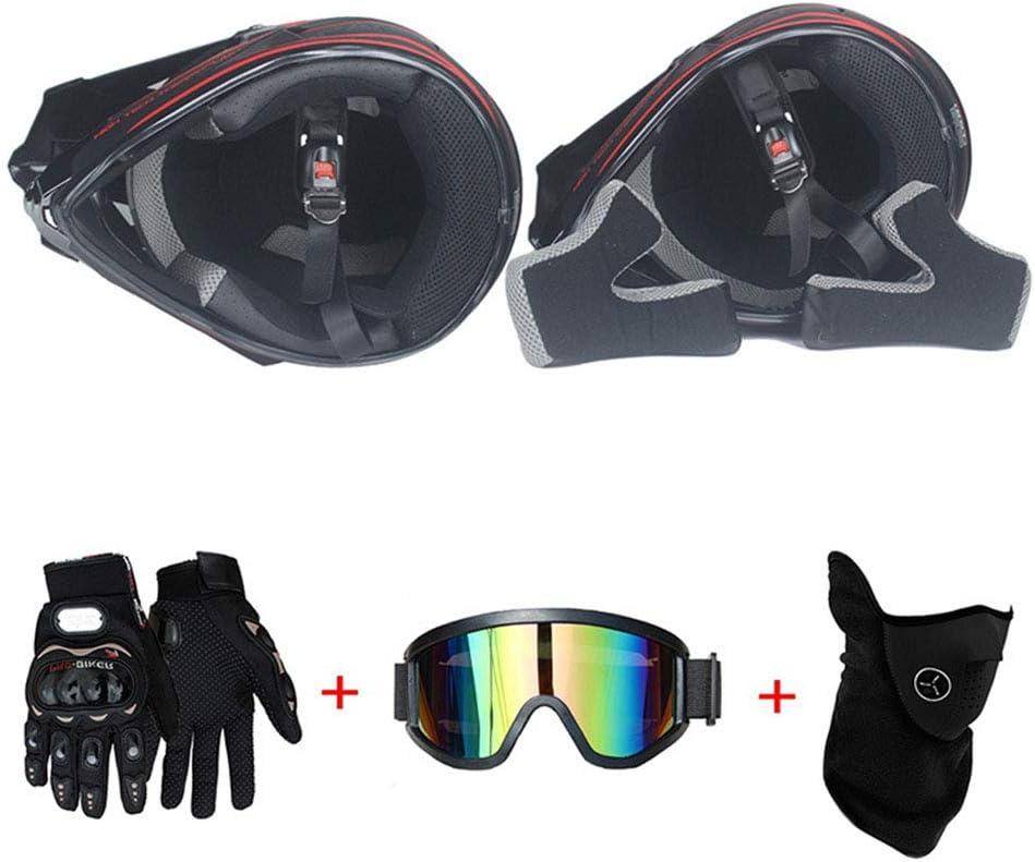 T Standard Enfants Quad Bike VTT Go Karting Casque,A,XL Moto Motocross Casques /& Gants /& Goggles D 58~59cm O