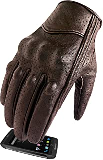 Men's Brown Leather Motorcycle Gloves With Touchscreen Finger and Knuckle Protector Motor Racing Gloves (XL, Brown,Perforated)