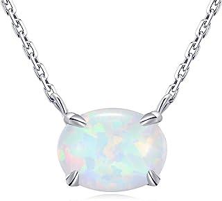 Sponsored Ad - Ellena Rose Sterling Silver Opal Necklace, 925 Sterling Silver, Small Dainty Oval Opal Jewelry for Women, G...