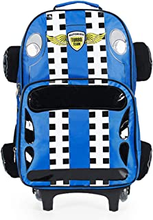 3D Jeep Car Style Baby Boys Schoolbag Backpack for Kids Rolling Backpacks Blue