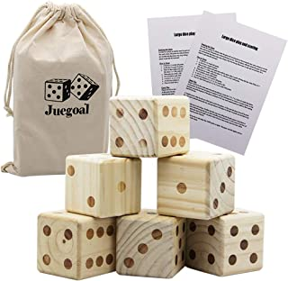 Juegoal Yard Dice Game, Giant 6 Wooden Dice Set Indoor Outdoor Lawn Game for Adult, Kids, Family Playing