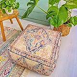 Mandala Life ART Funda de cojín de suelo bohemio, 61 x 20 cm, funda de almohada cuadrada para fiestas de jardín, piscina, balcón, patio y más
