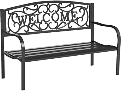 Transcontinental Group Cast Iron Garden Bench with Welcome Design, Black