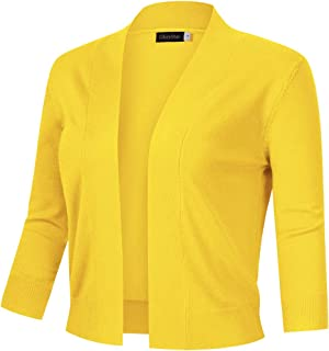 GloryStar Women's 3/4 Sleeve Cropped Cardigan Sweaters Open Front Knit Short Bolero Shrugs