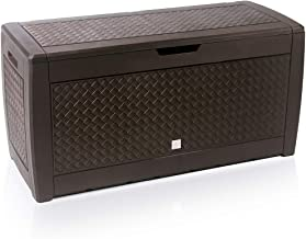 Deuba Garden Box 310L Brown Storage Plastic Outdoor Patio Deck Chest 114x48x60cm Rattan Style with Lid and Wheels