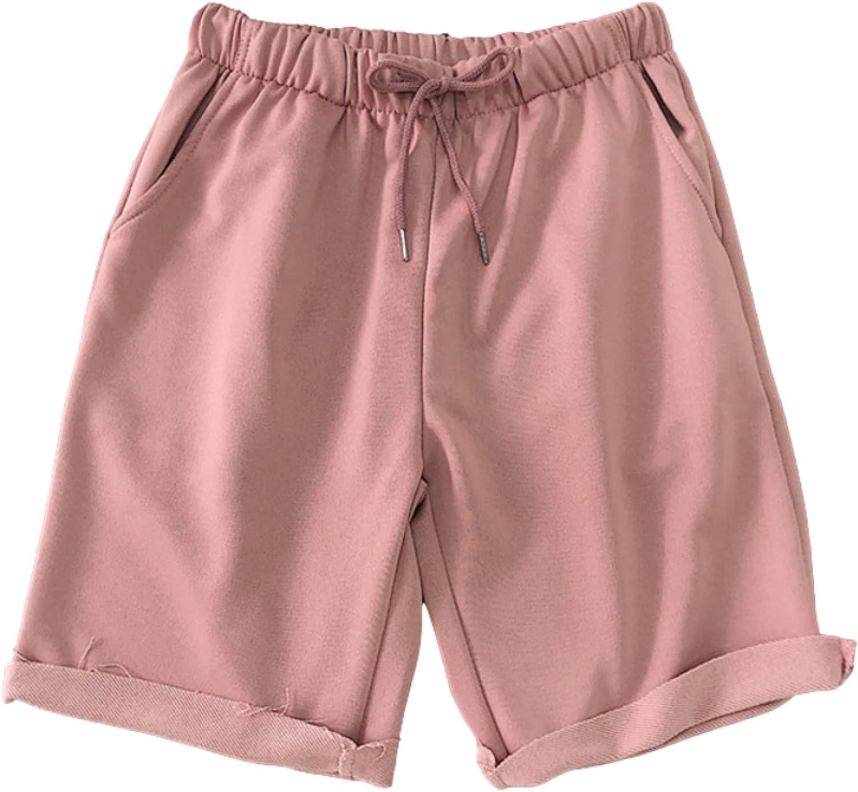 Men's Casual Shorts Summer Simple Solid Color Drawstring Elastic Waist Casual