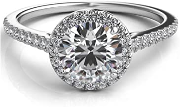 Lemon Grass 1.22 Ct Halo Set Solitaire Cubic Zirconia Promise Engagement Ring 925 Sterling Silver Ring Sizes 4-8