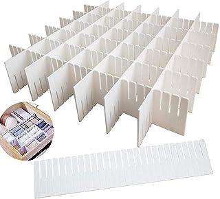 SPIRITUAL HOUSE 12PCS DIY Plastic Grid Drawer Dividers,White Adjustable Sock Underwear Dresser Drawer Organizers Divider f...