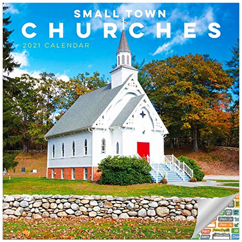 Small Town Churches Calendar 2021 Bundle - Deluxe 2021 Churches Wall Calendar with Over 100 Calendar Stickers (Churches Gifts, Office Supplies)
