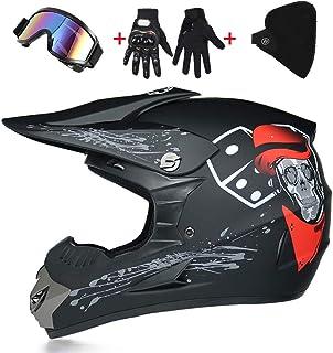 LWAJ- Motocross Helmet, Gloves Mask and Goggles (Set of 4) DOT Approved Full Face Crash Motorcycle Helmets Kids Quad Bike ...
