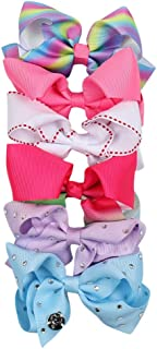 """Newtrend Everydays 4"""" Ribbon Bows in Rainbow Pattern Grosgrain Ribbon Hair Accessories With Alligator Clip For Girls"""