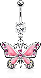 Butterfly with Gems 14G Navel Dangle Belly Button Ring 316L Surgical Steel