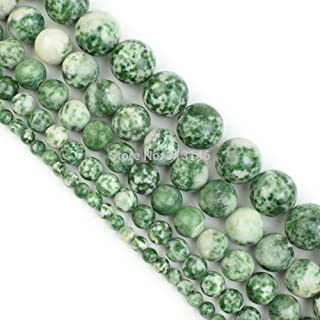 ZRBC Bulk Wholesale Assorted Natural Round Full Strand Healing Gem Semi Precious Stone Beads for DIY Bracelet Necklace Jewelry Making (Color : Green Spot Stone, Size : 4mm)
