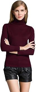 Romacci 女式高领弹力针织上衣毛衣长袖套头衫