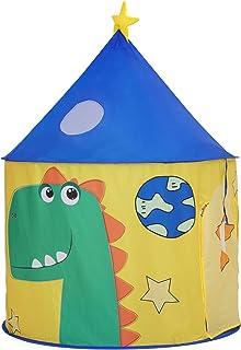 SONGMICS Tienda Infantil, Castillo Interior y Exterior, Pop-up Portátil, Tienda para niños, Bolsa de Transporte, Casa de Juego con Tema de Dinosaurio, Espacio Privado para Mayor de 3 niños LPT02YU