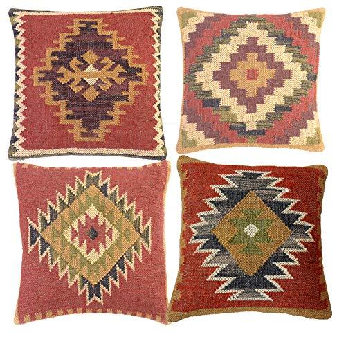 iinfinize - Juego de 4 fundas de cojín de yute de lana tejida a mano, diseño vintage de kilim, para sofá o salón