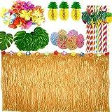 Xiaorouqiu [Actualizado/Updated] 119 Piezas Hawaiana Luau Falda de Mesa, Set de Decoración de Fiesta Tropical Hawaiana con 9 Pies, Hojas de Palma Flores, Piña de Papel, Tapas de Comida de Paraguas
