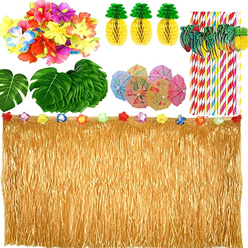 Xiaorouqiu [Actualizado/Updated] 119 Piezas Hawaiana Luau Falda de Mesa, Set de Decoración de Fiesta Tropical...