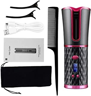 Curler Auto Rotating Ceramic Hair Curler Cordless Magic Curling Iron USB Rechargeable Curl Wave LED Display Fast Hair Styl...