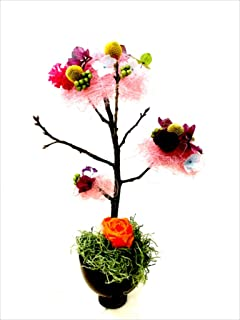 プリザーブドフラワー アートみたいなふわふわの木 お祝いに最適です (ベージュ)