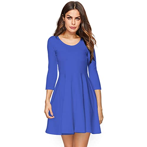 Amoretu Womens Bell Sleeve Tunic Dress Casual V Neck Ruffle Swing Shift  Dresses 5f41553c52