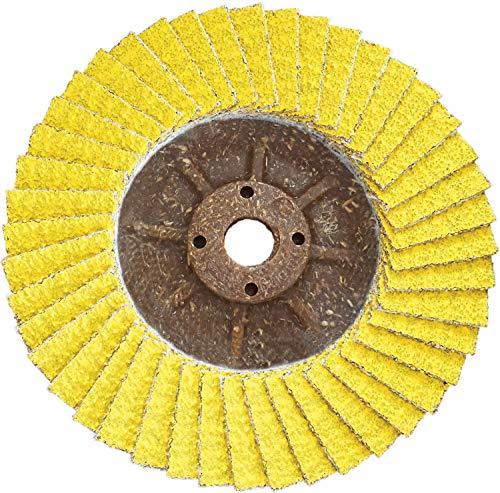CS Unitec PLANTEX SUNFIRE Disco de cerámica recortable, 10 cm de diámetro, eje de 5/8-11, grano 40/60 (paquete de 10) – Fabricado en Alemania – 93520