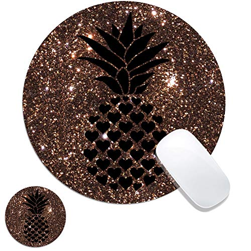 Round Mouse Pad, Pineapple on Glitter Background Customized Designs Non-Slip Rubber Base Gaming Mouse Pads and Coaster Set for Mac, PC, Computers. Ideal for Working Or Game 7.9x7.9inch