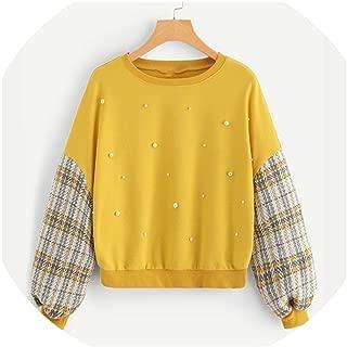 Yellow Casual Beaded Pearl Embellished Drop Shoulder Plaid Pullover Sweatshirt Women Sweatshirts
