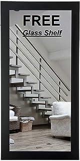 Creative Arts n Frames Natural Oak Fibre Wood Framed Wall Mirror with Glass Shelf (15 x 40 inch)