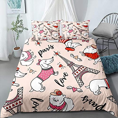 Aolomp 2/3 Pieces Paris Tower Bedding Set Duvet Cover Cartoon Dogs Animals Bed Quilt Cover Home Textile Bed Cover Set