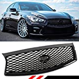 Fits for 2014-2017 Infiniti Q50 High Glossy Black Out Front Hood Upper Grill Grille Replacement