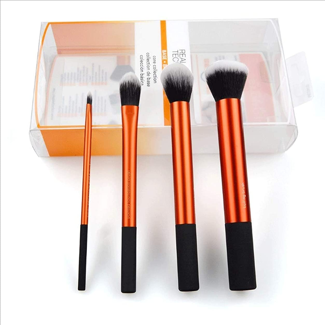 教育する赤毒液MAKE-UP BRUSHES HOME 化粧筆4本小ウエストベーシックゴールドチューブ化粧小セットブラシ