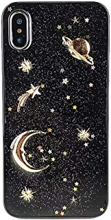 Wingcases Elegant Shiny Glitter Design for iPhone X/Xs Case with Gold 3D Moon Star Universe Soft Slim Gel TPU Rubber Fashion Handmade Girly Phone Cover