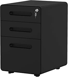 YITAHOME 3-Drawer Office Storage Cabinet,Metal Mobile File Cabinet with Keys and Anti-tilt System, Home Commercial Pedest...