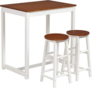 mecor 3-Peice Pub Table Set, Wood Dining Breakfast Table Set with 2 Counter Stools for Home Kitchen Breakfast Furniture (Natural)