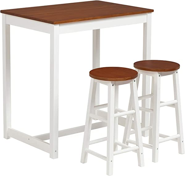 Mecor 3 Peice Pub Table Set Wooden Dining Table Set With 2 Counter Stools For Home Kitchen Breakfast Natural