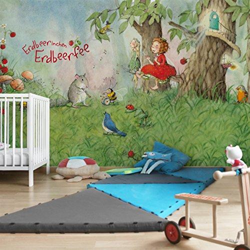Apalis Kindertapeten Vliestapeten Erdbeerinchen Erdbeerfee Zusammen Musizieren Fototapete Breit   Vlies Tapete Wandtapete Wandbild Foto 3D Fototapete für Schlafzimmer Wohnzimmer Küche   grün, 94631