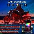 Upgraded 12pcs Motorcycle LED Lights Kits, RGB Smart brake IP67 Waterproof Accent Glow Neon with APP and Dual RF remote control for Harley Davidson Honda Kawasaki Suzuki by TACHICO