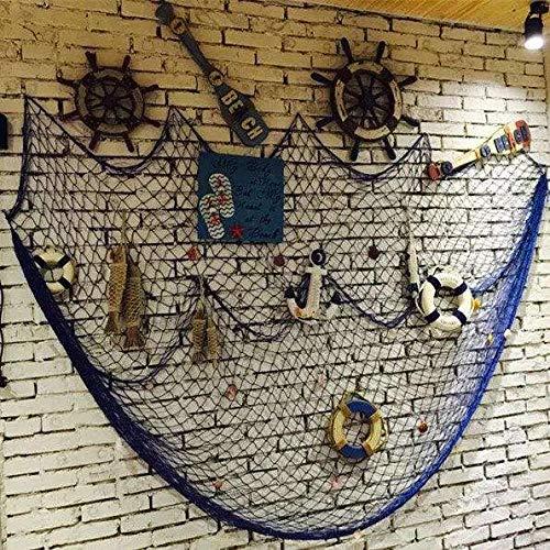 DEWEL Fischernetz mit Muscheln, Fischernetz Deko mit Farbigen Muscheln Maritime Deko Netz Dekoratives Fischnetz für Wand Party Zimmer Dekoration, 150 x 200 cm, Blau