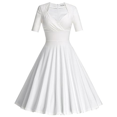 09b435f921ab MUXXN Women s 50s Vintage Short Sleeve Pleated Swing Dress White