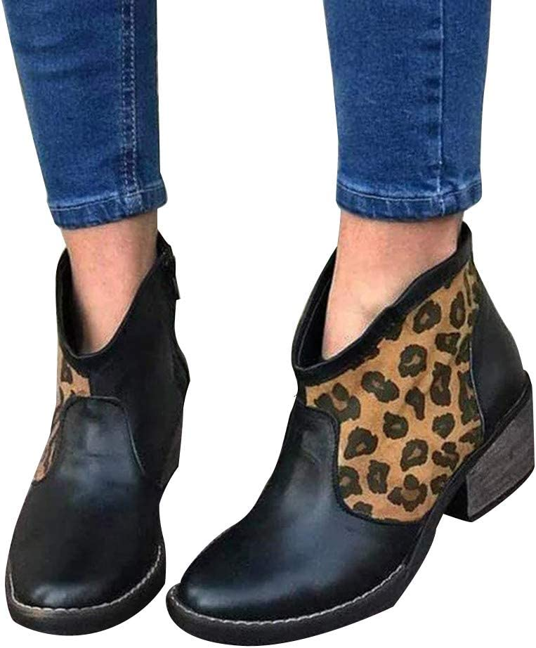 Padaleks Women's Ankle Boot Side Leopard Zipper High Don't miss the campaign S Patchwork Las Vegas Mall