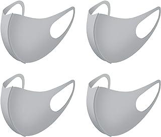 Polyurethan Face Mouth Mask Dustproof Facial UV Protective Cover Washable Reusable Masks for Women Men DN1010 (Grey-4PCS)