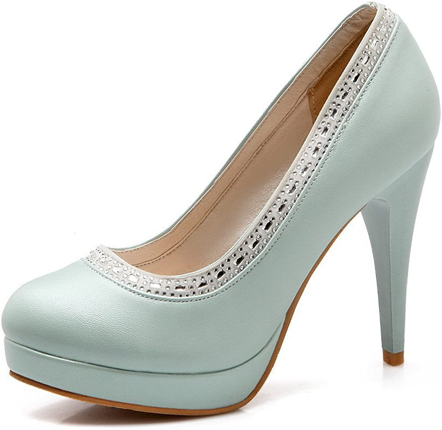 WeenFashion Women's High-Heels Soft Material Solid Pull-on Round Closed Toe Pumps-shoes