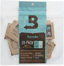 Boveda 62% RH 1 Gram, Patented 2-Way Humidity Control, (1) 20-Pack, Unwrapped Boveda, Resealable Bag, Stores/Keeps Fresh 3.5 oz Flower. Terpene Protector, Drier Climates Higher Altitudes